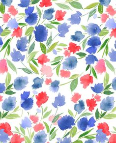 Pattern- Floral in Red and Blue — Yao Cheng Design