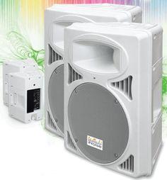 IN2212AUES WHITE X2 Coppia cassa attiva 1600 Watt USB SD - Casse acustiche amplificate attive diffusori karaoke impianto audio altoparlanti - Bianca / Bianche