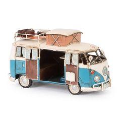 Miniatura Kombi de Acampamento Modelo 1966 VW Camp Bus Azul em Ferro - 25x15 cm