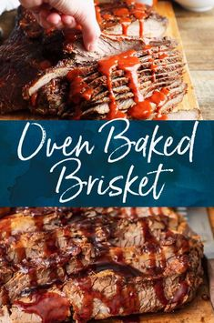 This oven baked beef brisket is so tender and delicious! BBQ beef brisket is a delicious meal for weekends and special occasions. Top it off with homemade barbecue sauce for some added flavor. Bbq Beef Brisket Recipe, Roast Brisket, Barbecue Sauce Recipes, Smoked Beef Brisket, Beef Recipes, Brisket Marinade, Bbq Sauces, Oven Roasted Brisket, Oven Baked Brisket