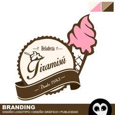 Logotipo Heladeria Tiramisú. Diseño de logo, branding empresarial, desarrollo de marca, publicidad, marketing online, banner, folletos, tarjetas personales, campañas publicitarias