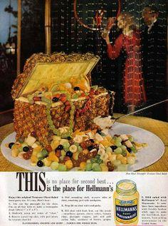 Vintage Hellmann's advertisement.  A pineapple treasure chest fruit bowl!