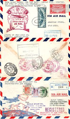 "Flown ""triptych"" cover carried around the world on PAA Boeing 314 Clippers and Imperial Airways Short flying boats June 24 – July 1939 Vintage Labels, Vintage Ephemera, Vintage Paper, Vintage Crafts, Mail Art, Airmail Envelopes, Etiquette Vintage, Envelope Art, Thinking Day"