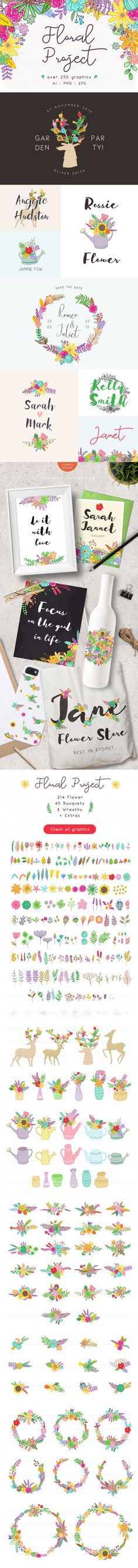 Floral Project by vuuuds  https://creativemarket.com/vuuuds/417808-Floral-Project-50-off  flower, diy, vector, floral,	illustration, poster,	card, greeting,	wedding,	clip art, garden,	popular, botanical, decoration, logo,	pattern