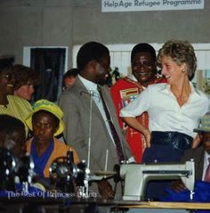 Princess Diana at the Tongogora refugee camp, where she visited leprosy sufferers, during her official visit to Zimbabwe, 13th July 1993.