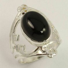 925 Sterling Silver Ring Size US 7.75 Natural BLACK ONYX Oval Gemstone Best Gift #Unbranded Silver Jewellery Indian, Black Onyx Ring, Silver Stacking Rings, Sterling Silver Jewelry, Gemstones, Natural, Ebay, Traditional, Board