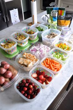 Put together a few easy meals to take to lunch plus a bunch of easy-to-grab fruit for snacks, so you can always just eat when you're hungry.