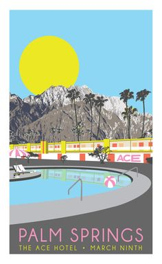 Save The Date Poster, Palm Springs Wedding, Ace Hotel, Color Vision Media