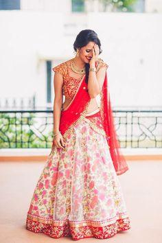 Printed floral half saree