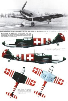 Other Air Force users, captured aircraft, Avia and Hispano Me 109, Ww2 Aircraft, Fighter Aircraft, Military Aircraft, Luftwaffe, Swiss Air, Aircraft Painting, Ww2 Planes, Nose Art