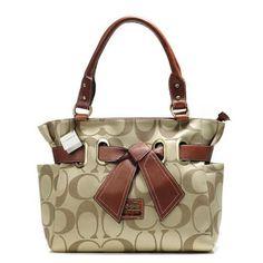#ChooseEnjoyCoach Coach Poppy Bowknot Signature Medium Khaki Totes AMZ. The world's premier online luxury fashion destination. http://pinterestinglady.com/?p=1419