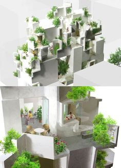 I like all kinds of tiny hidden spaces. and plants tree- Japan Architecture, Green Architecture, Architecture Portfolio, Concept Architecture, School Architecture, Landscape Architecture, Architecture Design, Co Housing, Hidden Spaces