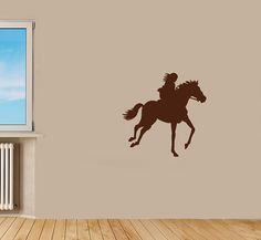 Wall Vinyl Decal Sticker Removable Room Window Girl Woman Lady on Horse TK215 on Etsy, $26.57 CAD