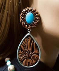 """Hand painted, faux tooled leather Teardrop Earring with antiqued silver bezel dangling from faux turquoise and leather lace top (3 1/4 """" x 1 1/4"""").  www.maverickrose.com"""
