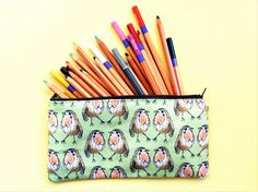 Your place to buy and sell all things handmade Pencil Cases, Pencil Pouch, Wash Bags, Pigment Ink, Bird Prints, Uk Shop, Pouches, Printing On Fabric, Robin