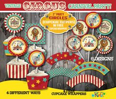 Instant Download Circus Birthday Party Cupcake by ItsAllAboutKidz, $5.00