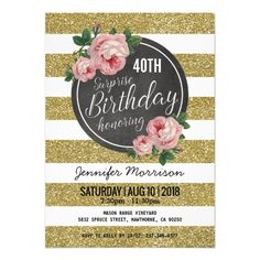 Shop Gold Sparkle Floral Pink Surprise Birthday Party Invitation created by special_stationery. Rustic Birthday Parties, Gold Birthday Party, Pink Birthday, Birthday Bash, Happy Birthday, Gold Invitations, Floral Invitation, Surprise Birthday Invitations, Wedding Stationery