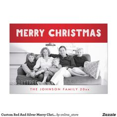 Custom Red And Silver Merry Christmas Photo Cards