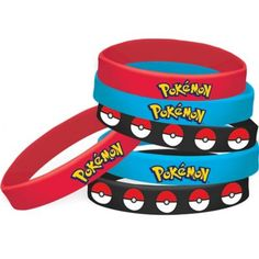 Pokemon Core Wristbands come in blue, black, and red colors with prints of Poke Balls or the Pokemon logo. These rubber bracelets are Poke-perfect party favors for your little trainer's celebration. Pokemon Party Supplies, Birthday Supplies, Kids Party Supplies, Pokemon Party Decorations, 6th Birthday Parties, Boy Birthday, Birthday Ideas, Pokemon Logo, Ash Pokemon