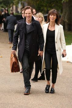 British actor Benedict Cumberbatch and wife Sophie Hunter poses for photographs as they arrive for the Burberry Prorsum Womenswear SS16 show in Kensington Gore, west London, Monday, Sept. 21, 2015. (Photo by Joel Ryan/Invision/AP) Photo: Joel Ryan, Joel Ryan/Invision/AP / Invision
