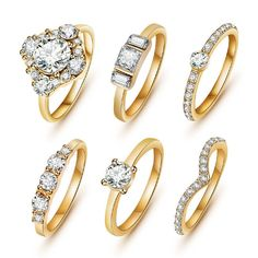 Romantic Ring Set 6 pieces Material: Crystal Metals Type: High quality alloy, silver, 18K gold Size: 6,7,8