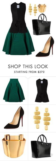 """""""style theory by Helia"""" by heliaamado on Polyvore featuring moda, Maje, Rosie Assoulin, Christian Louboutin, Marco Bicego, Chloé e Victoria Beckham"""