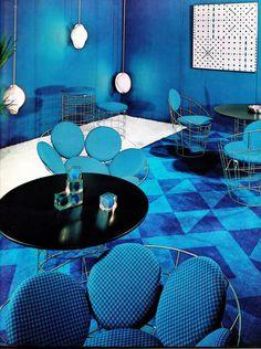 Mod vintage blue interior lounge room.