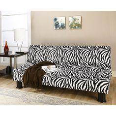 Primo Maple Convertible Futon Sofa Bed Zebra Safari