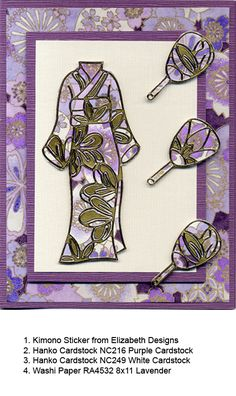 handmade card from Hanko Designs Archive by Karen Swemba ... kimono and fans created with lovely paper and golden stickers ...