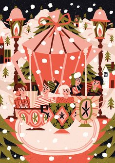 christmas campaign A very special Christmas packaging illustration project for Solberg amp; Hansen: a Norwegian coffee brand. Christmas Coffee, Christmas Love, Christmas Design, Christmas Pictures, Xmas, Graphic Design Illustration, Illustration Art, Christmas Illustration Design, Box Noel