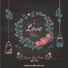Floral wedding invitation on blackboard Premium Vector Wedding Party Invites, Floral Wedding Invitations, Wedding Cards, Blackboard Wedding, Blackboard Art, Flower Wreath Illustration, Decoration Vitrine, Photos Hd, Save The Date Designs