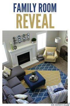 Family Room Reveal on SixSistersStuff.com | Our kid-friendly, but bright, open, happy, comfortable, and inviting living room reveal.