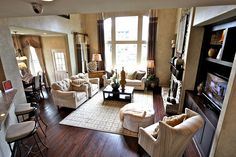 Furniture Placement Dark Wood Floors Pretty Room Model Homes White