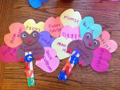 Giving thanks with hearts turkey - easy to cut out and let kids write & paste craft