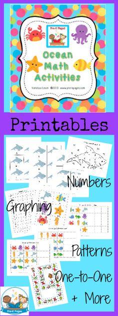 Printable Ocean Math Activities for #preschool and #kindergarten
