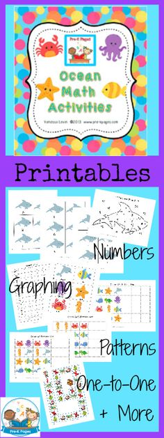 Printable Ocean Math Activities for #preschool and #kindergarten