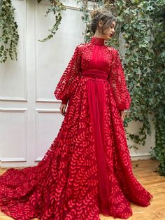 Details: -Carnelian red colour -Tulle fabric with embroidered leaves -A-line with waist definition and sleeves -For special occasions Stylish Dresses, Elegant Dresses, Pretty Dresses, Casual Dresses, Fashion Dresses, Hijab Evening Dress, Evening Dresses, Hijab Dress Party, Red Gowns