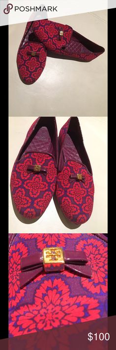 Tory Burch Smoking Slippers These vibrant and beautiful Tory Burch flats are always the biggest buzz around the fall runway show: an array of jewel-like bugs, used in unexpected ways. Her Smoking Slipper appeared in their very first collection — makes these the centerpiece for any outfit! Woven with gorgeous hot pink and purple thread, this pair effortlessly dresses up or down, perfect for around-the-clock shine. All other items I'm wearing are for sale in my closet, too! Tory Burch Shoes…