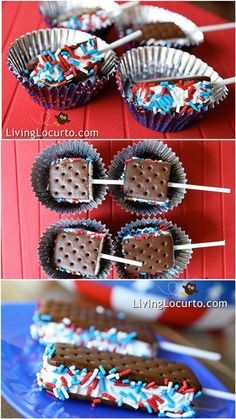 Did you ever think of chopping these things in half for the kids? Add sprinkles for a festive party snack. Great ideas for ice cream sandwich treats! Red white and blue dessert.