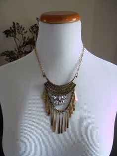 Jewel Accent With Metal Fringe Necklace