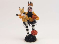 Fanny And Her Fox Vintage Inspired Spun Cotton Figure OOAK (READY To SHIP!) by VintagebyCrystal on Etsy