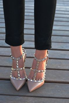 Best of Studded Footwear. Beige shoes with thorns. Latest arrivals.: