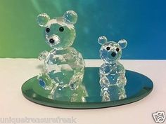 VINTAGE SWAROVSKI CRYSTAL GLASS FIGURINE W/ STAND TEDDY BEARS RETIRED CUB LOT