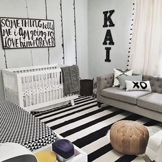 "1,084 Likes, 52 Comments - Project Nursery (@projectnursery) on Instagram: ""This black and white space is anything but boring. Love the couch so you can take a snooze when…"""