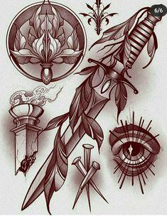 Black Ink Tattoos, Mini Tattoos, Body Art Tattoos, Sleeve Tattoos, Traditional Dagger, Neo Traditional Tattoo, Tattoo Sketches, Tattoo Drawings, Neo Tattoo