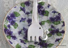 ELEPHANT Foldover Key Chain  YOUTH 1940  by SilverwareCreations