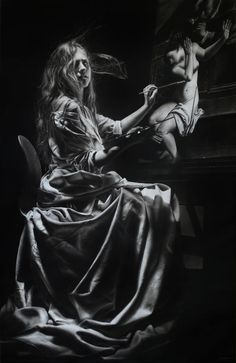 Artemisia Gentileschi - Charcoal and graphite on paper - 140x90 cm - 2016 - Emanuele Dascanio