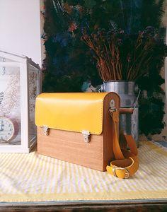 GRAV GRAV - Wooden Yellow Satchel Bag #gravgravco #satchelbag #woodenbag