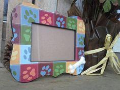 COLORFUL PAW PRINT frame 4x6 dog bone frame by MarieJamesDesign