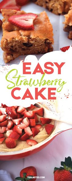 Easy Strawberry Cake Strawberry Sheet Cakes, Homemade Strawberry Cake, Strawberry Cake Recipes, Easy Delicious Dinner Recipes, Best Dessert Recipes, Easy Desserts, Delicious Food, Recipes Using Cake Mix, Cake Recipes From Scratch